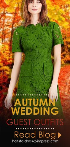 Outfit inspiration for Autumn Wedding Guests. What to wear for Autumn Weddings. Green Lace Dress. Colours to wear for an Autumn Wedding. Fall Wedding Outfits, Winter Fashion Outfits, Autumn Fashion, Fashion Tips, Bright Blue Dresses, Mother Of The Bride Hats, What To Wear, Autumn Weddings, Conkers