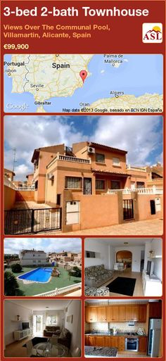 3-bed 2-bath Townhouse in Views Over The Communal Pool, Villamartin, Alicante, Spain ►€99,900 #PropertyForSaleInSpain