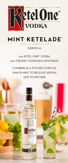 Memorial Day weekend calls for friends, barbecues, and pitchers of delicious Mint Ketelade®. Simple and sweet, this cocktail is sure to please everyone at your party. To enjoy, combine 9 oz. Ketel One® and 18 oz. freshly squeezed lemonade in a pitcher over ice. Smack mint to release aroma and add to top of pitcher. A recipe this easy means less bartending, more hobnobbing.