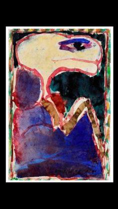 "Pierre Alechinsky - "" Composition "", 1983 - Watercolor on paper laid on canvas - 29 x 20 cm (*)"