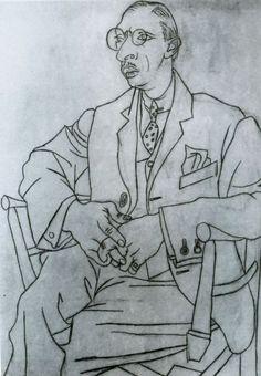 Pablo Picasso. Portrait of Igor Stravinsky. 1920. Dessin, Fusain et crayon sur papier