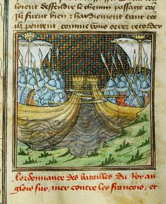 """Froissart,Jean,Chronicler  Naval battle of l'Ecluse in which the English destroyed a French fleet. Two vessels, full of soldiers in armour with lances, fighting. From the """"Chronicles"""" of the Hundred Years War by Jean Froissart (1333-1410). MS 864, folio 59 - Bibliotheque Municipale, Besancon, France"""