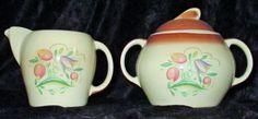 Susie Cooper Creamer & Sugar bowl Art Deco China Dresden Tulip Spray
