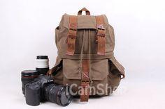 Army Green DSLR Genuine Leather-Canvas Camera Bag Canvas Backpack Photography Backpacks Camera Bag DSLR Camera Backpacks FB-1235