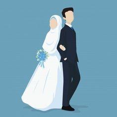 Muslim bride and groom Premium Vector Bride And Groom Cartoon, Wedding Couple Cartoon, Wedding Illustration, Couple Illustration, Marriage Cartoon, Muslimah Wedding, Wedding Hijab, Wedding Bride, Wedding Dresses