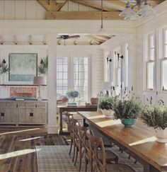 a relaxing but elegant kitchen. Love the white and the natural light.the wood of the counter; Also could easily be used in a country chic/rustic house design. Coastal Cottage, Coastal Homes, Coastal Living, Home And Living, Coastal Country, Plank Table, Dream Beach Houses, Shabby, Elegant Kitchens