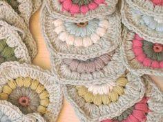 soft colors puff stitch granny squares