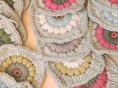 soft colors puff stitch granny squares