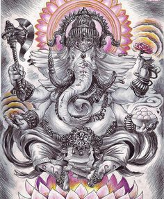 """Ganesha is defined as Omkara or Aumkara that is """"having the form of Om (or Aum). In fact the shape of his body is a copy of the outline of the Devanagari letter which indicates the celebrated Bija Mantra. For this reason Ganesha is considered the bodily incarnation of the entire Cosmos He who is at the base of all of the phenomenal world (Vishvadhara Jagadoddhara). Moreover in the Tamil language the sacred syllable is indicated precisely by a character which recalls the shape of the…"""
