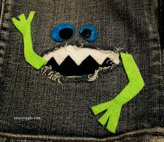 Brassy Apple: clothes REfashion - Monster patches for jeans