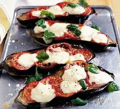 Choose a glossy, plump aubergine to make this warming vegetarian main course. From BBC Good Food. Aubergine Pizza, Aubergine Mozzarella, Aubergine Recipe, Aubergine Oven, Vegetarian Main Course, Eggplant Recipes, Baked Eggplant, Cooking Recipes, Healthy Recipes