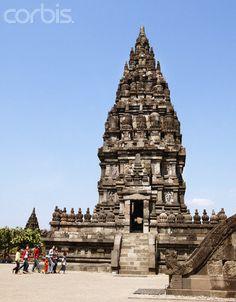 Group of People Walking in Front of Prambanan Temple Near Yogyakarta, Java, Indonesia