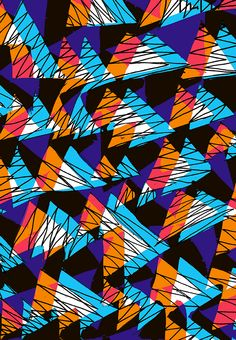 Orange and blue triangles - Sarah Bagshaw Textile Patterns, Print Patterns, Texture Photography, Triangle Pattern, Pretty Wallpapers, Art For Art Sake, Surface Pattern Design, Illustrations And Posters, Fractal Art