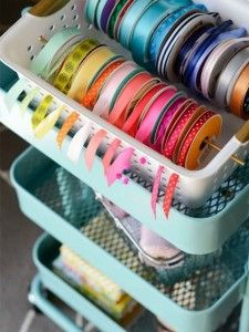 DIY Gift Wrapping Station -ribbon in basket idea. Can also put ribbons on rod or paper towel holder DIY Gift Wrapping Station -ribbon in basket idea. Can also put ribbons on rod or paper towel holder Craft Room Storage, Craft Organization, Storage Ideas, Ribbon Organization, Craft Rooms, Organizing Tips, Cleaning Tips, Sewing Room Storage, Organization Station