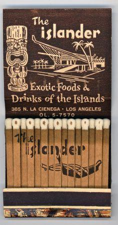 The Islander ▪ Los Angeles | Close Cover Before Striking | VINTAGE MATCHBOOKS |