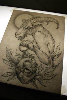 Tattoo Sketches, Tattoo Drawings, Gear Tattoo, Tatto Old, Capricorn Tattoo, Nordic Tattoo, Japanese Tattoo Art, Tattoo Project, Tattoo Illustration