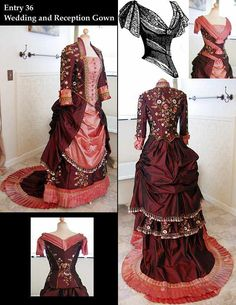 2009 Most Beautiful Bustle Dress In the WORLD Contest, Victorian Dress- Bustle Dress, Victorian Costume, Vintage Clothing, Vintage Clothes 1800s Fashion, Victorian Fashion, Vintage Fashion, Gothic Fashion, Victorian Gown, Victorian Costume, Vintage Gowns, Vintage Outfits, Vintage Hats