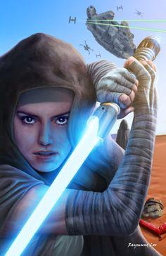 Rey - Raymund Lee Star Wars Fan Art, Rey Star Wars, Star Wars Jedi, Daisy Ridley, Star Wars Characters, Star Wars Episodes, Aliens, Cyberpunk, Starwars