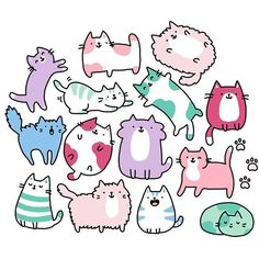Happy #NationalCatDay  this is my first #doodle with my new graphic tablet  I'm so much faster now, yayyy ☺️✨ Looking forward to make many new patterns with it ✏️✏️✏️ #kawaii #cute #kitties #kitty #cats #becausecats #pastel #可愛い #かわいい