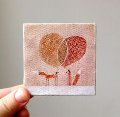 Mini Canvas Paintings - http://www.etsy.com/people/coolranchstudio - by Caroline acrylic - miniature paintings are really hard to do - these foxes I find magical