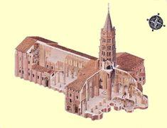 Romanesque Architecture, Ancient Architecture, Saint Sernin, Cathedrals, Toulouse, Art History, Medieval, Saints, Drawings