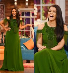 Aishwarya Rai Bachchan on Comedy Nights With Kapil : I'm not really a fan of this green Andrew Gn maxi but since it's an amazing change from her other promotional looks, she looked great to me!