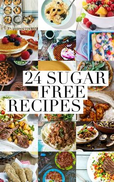 Wanna try a sugar-fast? Here are 24 Sugar Free recipes to get you going. #sugardetoxideas Sugar Detox Recipes, Low Sugar Recipes, No Sugar Foods, Sugar Free Desserts, Keto Desserts, Diet Recipes, Cooking Recipes, Healthy Recipes, Recipes For Diabetics