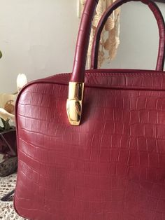 Red leather bag, Women small briefcase, Genuine leather with croco print, Red leather satchel, Rolled handles, Travel bag, Purse, Tote