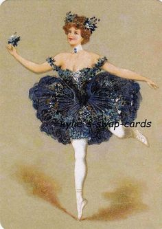 SD17 LOVELY LADY swap playing cards MINT CONDITION ballerina ballet dancer blue