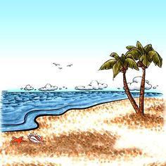 Tropical Beach Landscape Digi Stamp in Digital images