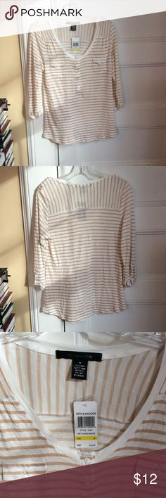 "89th & Madison striped tee size M NWT 89th & Madison adorable striped tee in tan and white, size M, new with tags, 💯 rayon. Button tab sleeves are functional, Henley neckline, pockets on chest, epaulets on shoulders. 25"" long, 16.5"" across bust when measured flat. 89th & Madison Tops Tees - Long Sleeve"