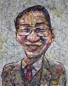 YiPyung Kim 김이평 // 'Portrait of Im Chang Bin' '임창빈의 초상' // 80x102cm, Reactive dye, Acid dye, Silk, 2014