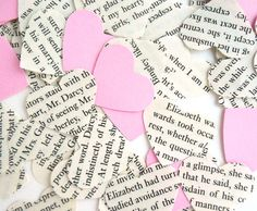 Upcycled Jane Austen Heart Confetti w/Pink Cardstock hearts, Pride & Prejudice, Eco-Friendly Wedding, Tea Party, Shower Decoration on Etsy, $3.00