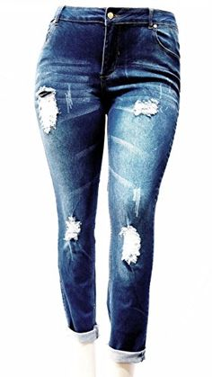 Jack David Womens Plus Size Ripped Destroy Blue Denim Roll up Distressed Jeans Pants - Cello Black Jeans 16 Distressed Denim Jeans, Blue Denim Jeans, Denim Skinny Jeans, Jeans Pants, Ankle Jeans, Omega Ladies, Very Short Dress, Cap Dress, David