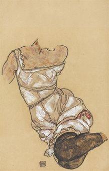 egon schiele gouche,watercolour and black crayon on paper