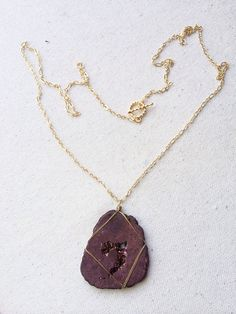 Chocolate Geode Slice wire wrapped pendant on 30 by CaitLizLee