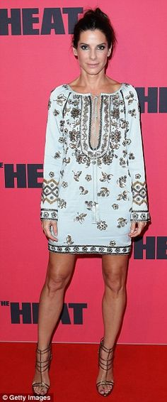 """Red carpet look: Sandra Bullock looked summery and stunning in the richly embellished Emilio Pucci dress at Sydney, Australia premiere of """"The Heat"""" ~ July 1, 2013"""
