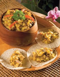 Picadillo de Papa, typical food of Costa Rica, made with potato, meat and other natural ingredients, it can be eaten with tortillas. http://www.costaricarios.com/costa-rica-adventure-tours.html costa rica recipes, costa rica food.