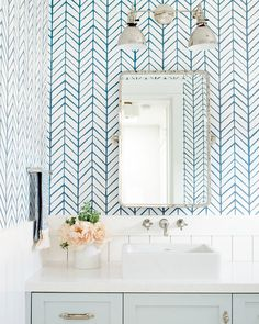 Beautiful master bathroom decor some ideas. Modern Farmhouse, Rustic Modern, Classic, light and airy bathroom design ideas. Bathroom makeover some ideas and master bathroom remodel a few ideas. Feather Wallpaper, Unique Wallpaper, Chevron Wallpaper, Bright Wallpaper, Bathroom Red, Modern Bathroom, Bathroom Ideas, Bathroom Organization, Bathroom Inspiration