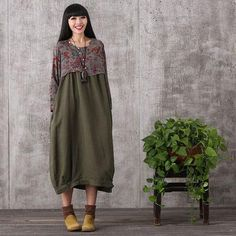 Women Printing stitching loose cotton linen dress