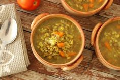 Lentil Barley Soup - This is one of the heartiest soups I've made. It has vegetables, lentils and barley, and a comforting rich thick. Soup Recipes, Cooking Recipes, Pearl Barley, Barley Soup, Green Lentils, Carrots, Stuffed Peppers, Meals, Vegetables