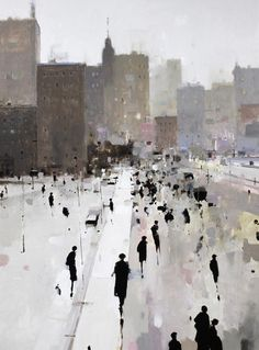 Geoffrey Johnson - Oil on wood panel, 2013 - Bridge Walk - City Market
