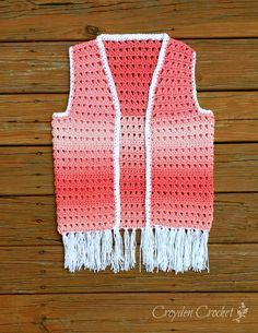 Crochet this fun and cute ombre boho style fringed vest using Red Heart's Super Saver Ombre yarn!