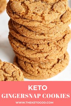 keto cookies These Keto gingersnap cookies are the perfect holiday treat. You will love these Keto cookies and your family wont even know these are low carb and Keto friendly. Desserts Keto, Keto Snacks, Keto Friendly Desserts, Diabetic Snacks, Baking Desserts, Keto Cookies, Diabetic Cookies, Low Carb Cookies Recipe, Low Calorie Cookies