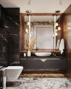 Modern Luxury Bathroom, Bathroom Design Luxury, Luxury Bathrooms, Washroom Design, Vanity Design, Powder Room Design, Bathroom Design Inspiration, Interiores Design, Ideas