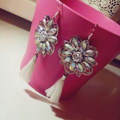 Handmade#diamond#tassels#earrings#white