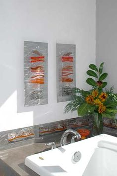 Bathroom Fused Glass Wall Art Decor