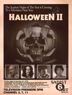 Halloween II starring Jamie Lee Curtis and Donald Pleasance Halloween Film, Halloween 2 1981, Halloween Series, Halloween Horror, Vintage Halloween, Halloween Stuff, Happy Halloween, Horror Movie Posters, Horror Movies