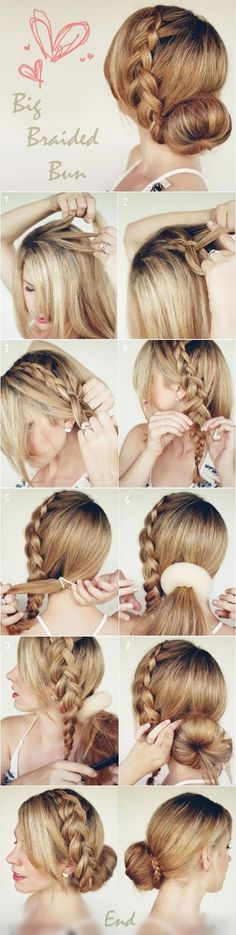 Braided Bun - Super Cute & Easy To Do!... I don't understand why people can't do a bun without an aid...