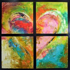 """HEART PAINTINGS AND HEART ART  Title:""""Deep Emotions"""" Four separate tastefully done abstract pieces are brought together by a rich frame to create one large heart portrait with a creative and original window effect.  Visit our page at http://www.ivanguaderrama.com/         Buy Heart Prints  http://fineartamerica.com/profiles/ivan-guaderrama-art-gallery.html"""